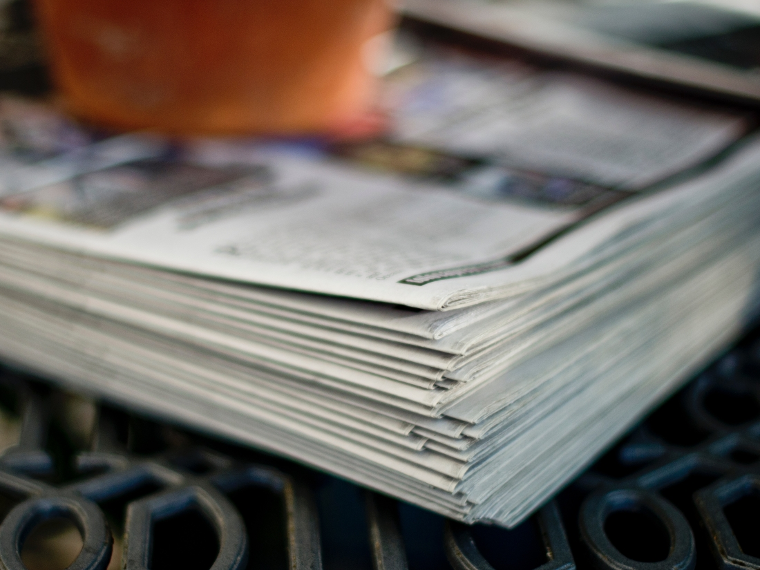 A neat pile of newspapers